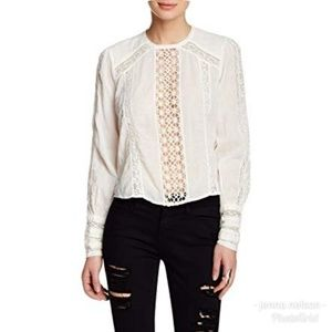 Free People White Lace Crochet Shirt Top S